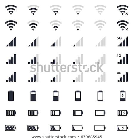 уровень икона сигнала wi-fi изолированный белый Сток-фото © kyryloff