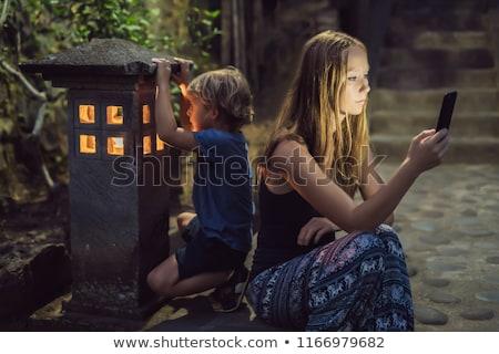 Anya külső okostelefon fiú kényelmes ablak Stock fotó © galitskaya