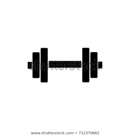 Súlyzó ikon fehér fitnessz egészség művészet Stock fotó © smoki
