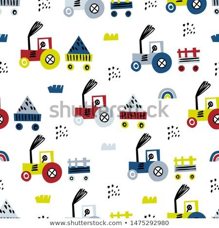 vetor · agrícola · trator · pictogramas · isolado · branco - foto stock © pikepicture
