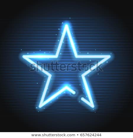 Stock photo: neon star empty frame background