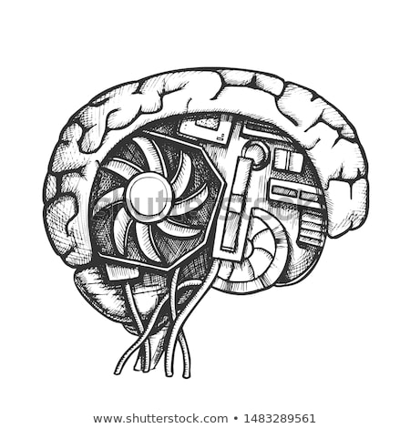 technológia · agy · oldalnézet · monokróm · vektor · mesterséges · intelligencia - stock fotó © pikepicture