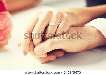 пару рук обручальное кольцо ювелирные предложение Сток-фото © dolgachov