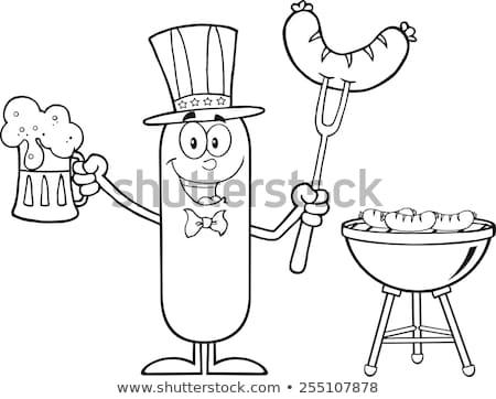 Hazafias kolbász rajzfilmfigura tart sör BBQ Stock fotó © hittoon