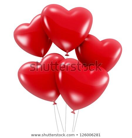 öt piros szív alakú hélium léggömbök Stock fotó © dolgachov