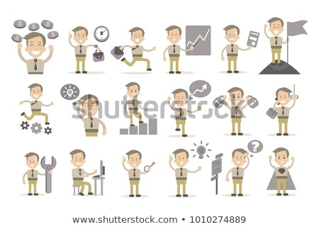 Smiling businessman with wrench and graph. Stock photo © lichtmeister