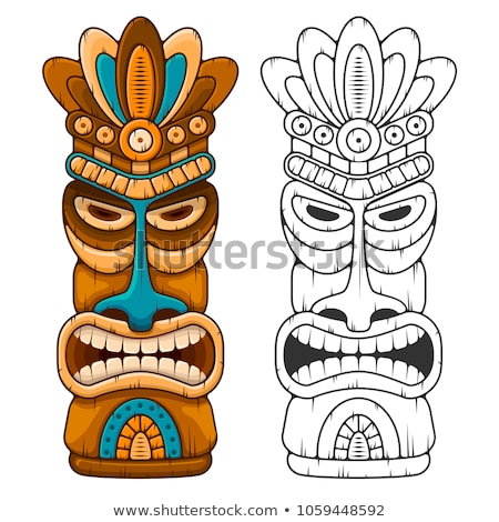 Tiki Idol Carved Wood Totem Color Vector Stock photo © pikepicture