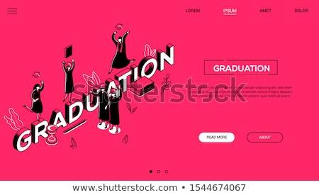 Graduation concept - line design style isometric web banner Stock photo © Decorwithme