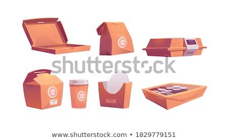 Fehér gyorsételek doboz tiszta házhozszállítás csomag Stock fotó © Digifoodstock