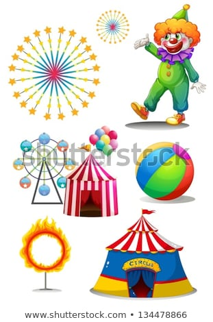 Different circus rides with fireworks in background Stock photo © bluering