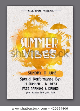 Summer party flyer design template with tropical palm leaves and flower on blue underwater ocean bac Stock photo © articular