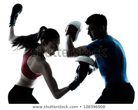 Um caucasiano casal homem mulher personal trainer Foto stock © Lopolo
