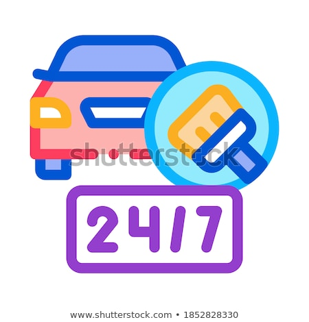 24 hour car wash icon vector outline illustration Stock photo © pikepicture