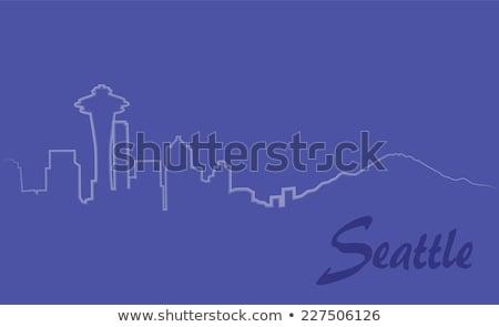 Schets Seattle Blauw gebouwen exemplaar ruimte Stockfoto © ShustrikS