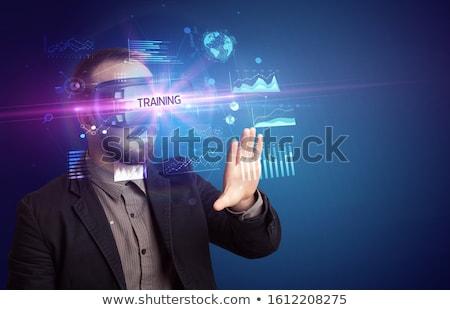 Empresário olhando óculos virtual realidade banda larga Foto stock © ra2studio