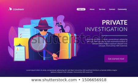 Nyomozás leszállás oldal titkosügynök keres nyomok Stock fotó © RAStudio