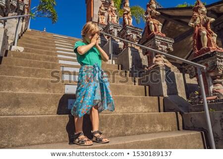 Fiatal srác turista templom Bali fordítás emberek Stock fotó © galitskaya