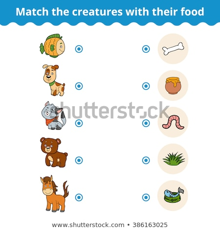 Matching children educational game. Match of cartoon worm and apple to size Stock photo © natali_brill