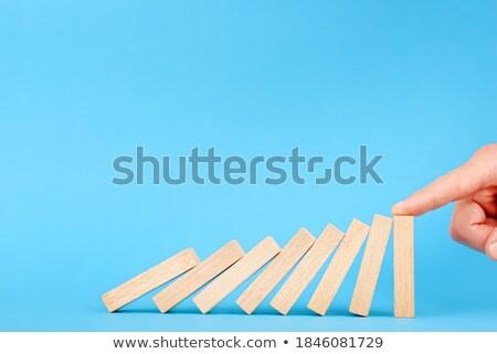 Stoppen vallen domino risico het voorkomen beheer Stockfoto © AndreyPopov