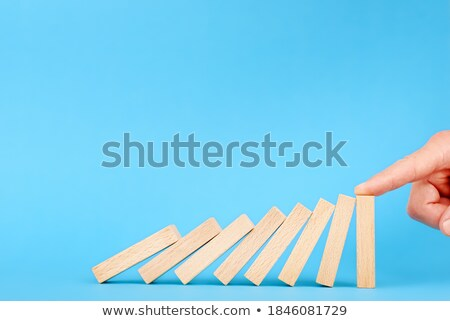 Stoppen fallen domino Risiko Vorbeugung Management Stock foto © AndreyPopov