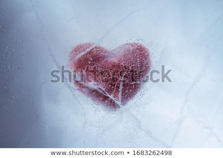 Bevroren hart papier stuk ijs Rood Stockfoto © pekour