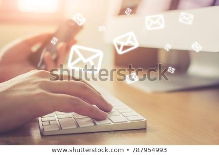 информационный · бюллетень · синий · конверт · символ · изолированный · белый - Сток-фото © volksgrafik