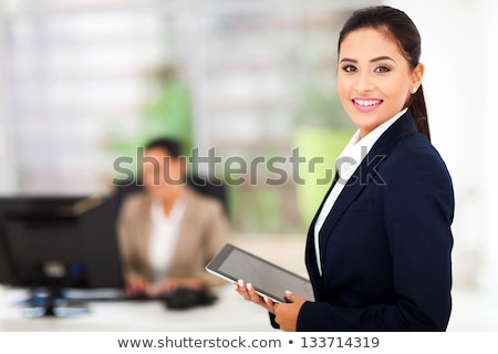 closeup portrait of caucasian colleagues young woman holding fo stock photo © hasloo