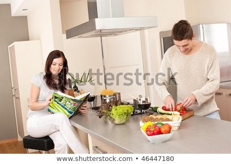 Cocina libro de cocina mujer alimentos pelo Foto stock © photography33