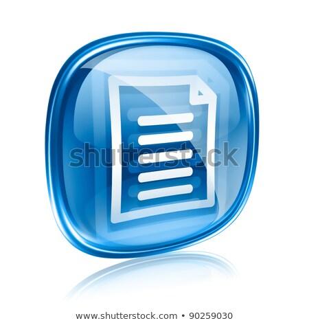 Photo stock: Dossier · icône · bleu · verre · isolé · blanche