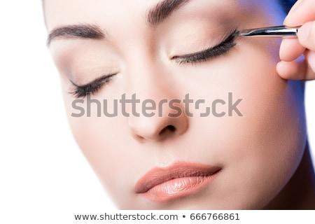 Vrouw eyeliner glimlach haren achtergrond schoonheid Stockfoto © photography33