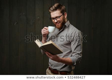 красивый · мужчина · еды · завтрак · чтение · книга · домой - Сток-фото © photography33
