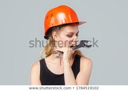 Blond stagiaire posant clé femme fille Photo stock © photography33