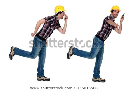 Twin tradesmen holding a walkie-talkie Stock photo © photography33