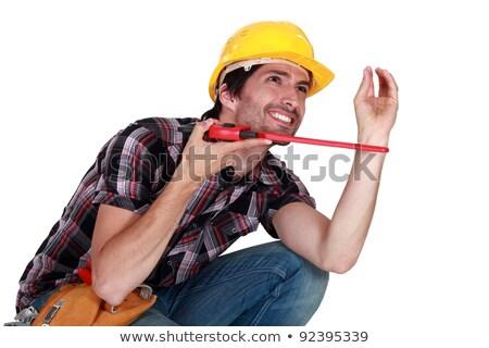 Loodgieter hurken exemplaar ruimte werknemer baan drop Stockfoto © photography33