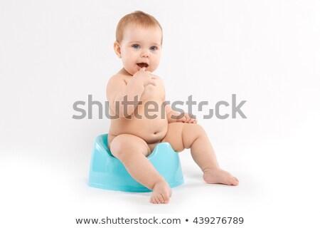 csecsemő · kicsi · kislány · ül · kék · nyitott · könyv - stock fotó © ozaiachin