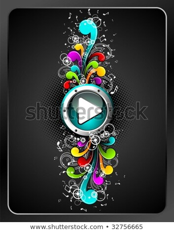 vector shiny play button with colorfull grunge floral elements on a dark background stock photo © articular
