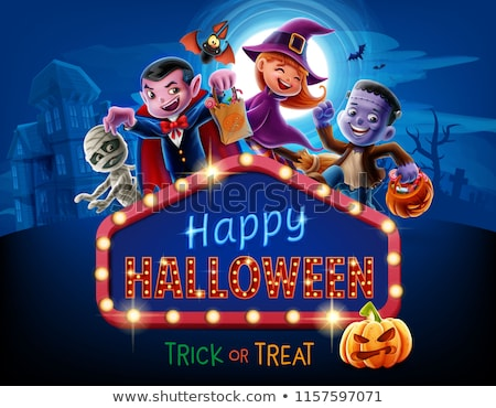 happy frankenstein halloween monster with sign cartoon vector il stock photo © chromaco