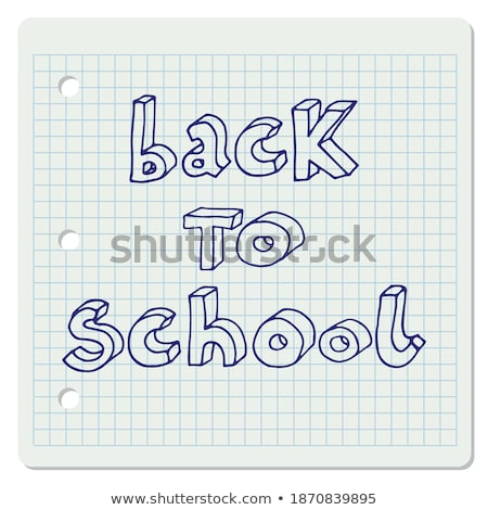 back to school in blue over squared sheet Stock photo © marinini