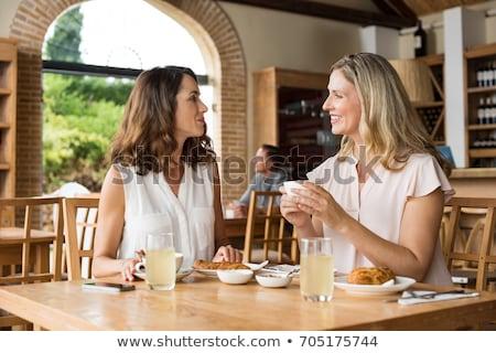 mutlu · kıdemli · kadın · kahvaltı · odak · oturma - stok fotoğraf © photography33