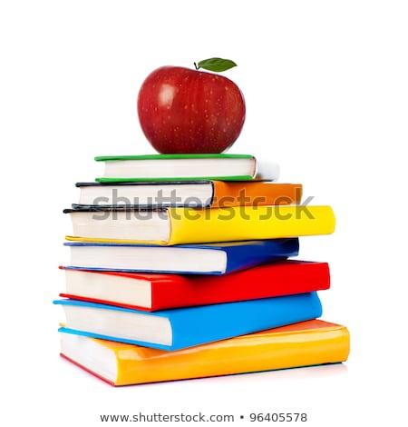 赤いリンゴ · 図書 · スタック · 3 - ストックフォト © LynneAlbright