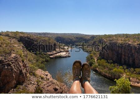 Woman outback lake Australia Stock photo © roboriginal