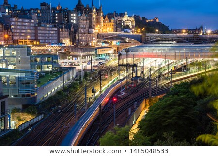 View on Edinburgh's Waverly railway station Stock photo © Hofmeester