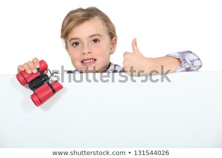pequeno · espião · imagem · bonitinho · menina · lente - foto stock © photography33