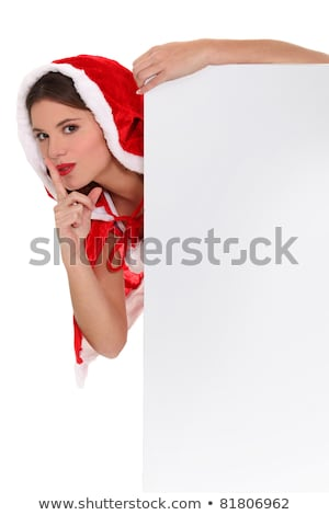 Miss Santa with a board left blank for your message Stock photo © photography33