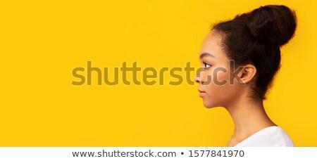 Ciddi genç kız Asya bayan bakıyor yüz Stok fotoğraf © KMWPhotography