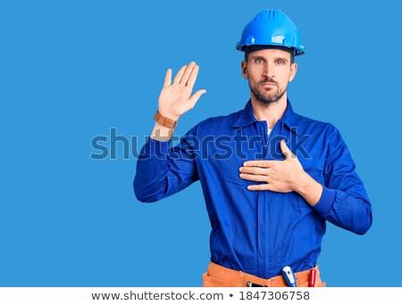 Man veiligheidshelm verbergen business gezicht hout Stockfoto © photography33