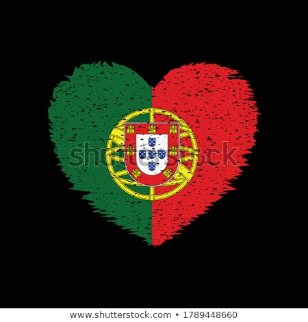 Vector heart with Portugal flag texture isolated on a white. Stock photo © SolanD