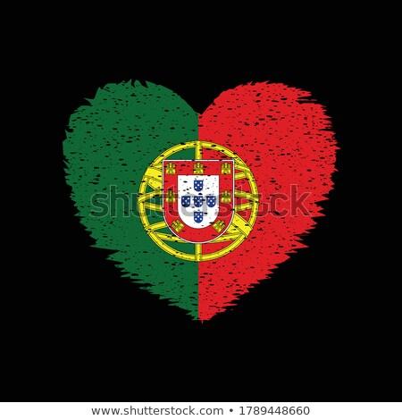 вектора сердце Португалия флаг текстуры изолированный Сток-фото © SolanD