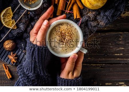 Stockfoto: Kaneel · koffiekopje · koffie · drinken · zwarte · beker