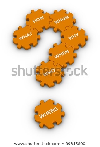 question-mark and question words in blue hexagons Stock photo © marinini